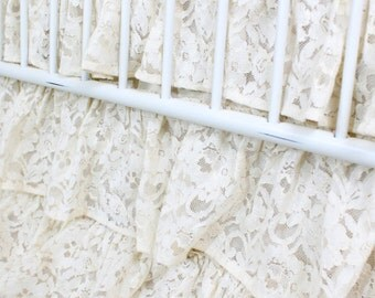 Vintage Ivory Lace Waterfall Ruffle 3 Tier Crib Skirt
