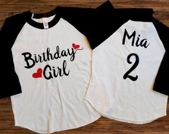 Birthday Girl - ANY AGE - Birthday Shirt - Girls' Shirts - Birthday Outfit - Personalized Birthday Shirt - Birthday Party - Name on Back
