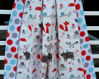 Double layer blanket, flannel baby blanket, swaddling blanket, receiving blanket, ready to ship, woodland theme