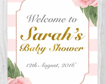 Baby Shower Welcome Sign,Pink stripe,Personalised Welcome Sign, Printable