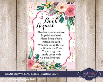 WATERCOLOR Flowers Book Request Card, Instant download BOOK REQUEST Card, Floral Baby Shower, Book Request Card, Baby Book Request Card