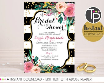 BRIDAL SHOWER INVITATION, Instant Download, Watercolor Floral Bridal Shower, Watercolor flowers, High Tea Bridal Shower, Floral Invitation