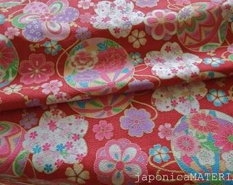 Japanese Cotton Chirimen, 1/2 yard, Temari and Flowers, Red, 100% Cotton