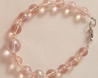 Pale Pink Bracelet - Glass Bead Bracelet - Pink Bracelet - Pink Jewelry - Beaded Bracelet - Round Glass Bead Bracelet - Women's Bracelet