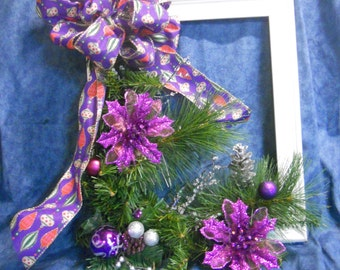 Purple and White Chritmas Picture Frame Wreath