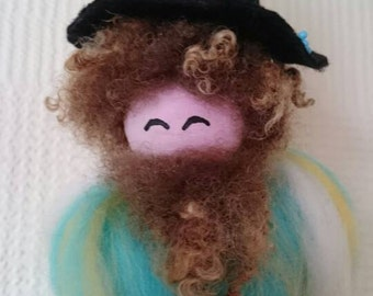 Wool Felt Fairy - Turquoise Wizard