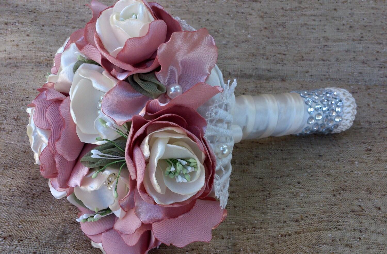 Bridal Bouquet Materials : Fabric flower bouquet wedding