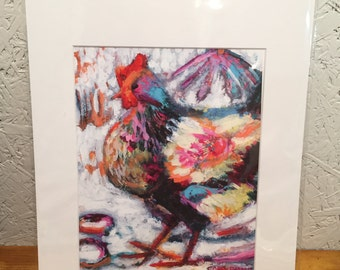"Chicken in the Snow: 8"" x 10"" giclée print of my original painting"
