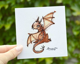 4x4 Print -  Baby Dragon Sketch