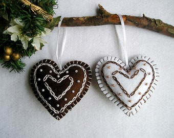 Felt Hearts, Handing Felt Ornament,  christmas ornament, christmas tree ornament, home decor,set of 2, brown, white, chocolate,  embroidery