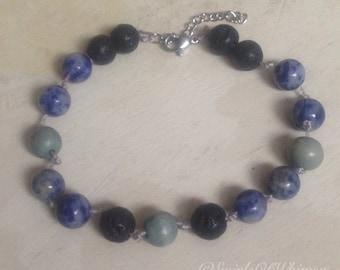 Blue Grey Black Lava Diffuser bracelet, Blue spotted jasper stones, grey wood beads, black volcanic stone, diffuse essential oils