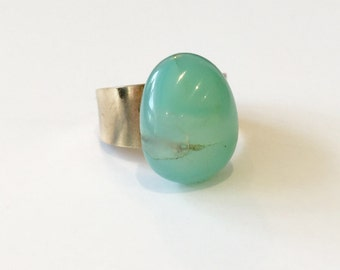 Agate ring, stone ring, brass ring, blue ring, aqua-colored ring, statement ring