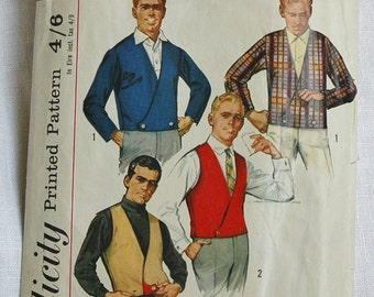 Vintage men's jacket and reversible vest pattern, Simplicity 6256, size chest 40 inches, 1965