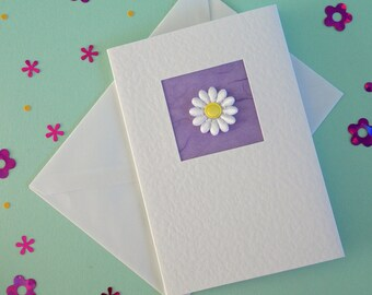 Birthday Card, friend, wife, sister, daughter, girlfriend, for her, mum, daisy on lilac, modern, contemporary, cute, recycled envelope