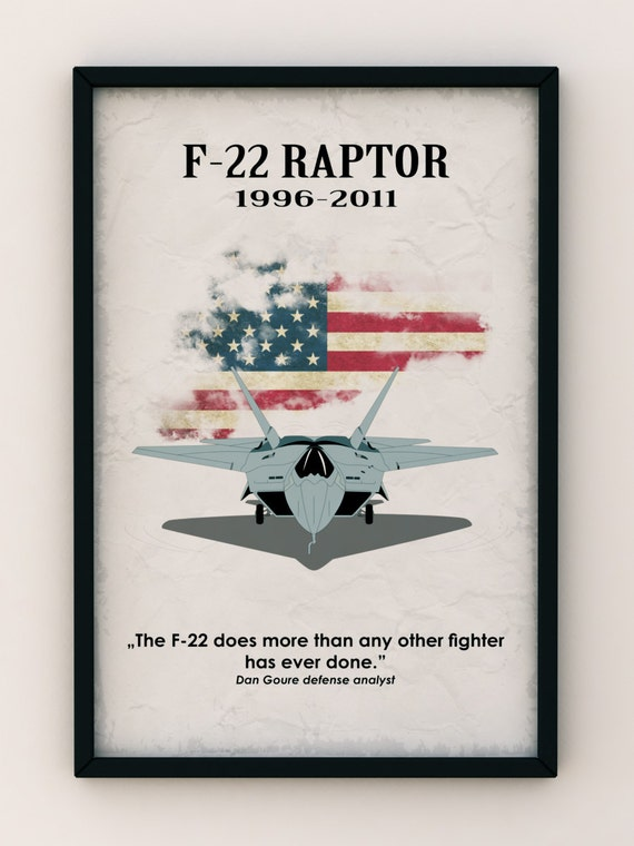 USA F-22 Raptor Air-Fighter, Vintage Poster, Quote Poster - Art Print Production