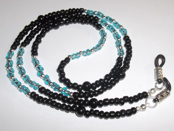 """Black Glass & Sea Blue Glass Beaded Hand Crafted 30"""" Eyeglass Chain Holder Necklace"""