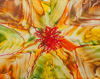 Encaustic 14, original, handmade wax painting, abstract on card