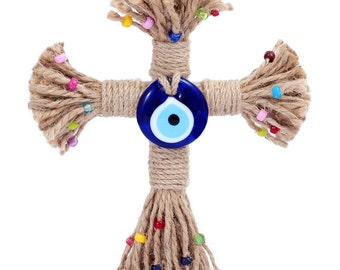 Evil Eye Rope Cross Wall Hanging - HP091