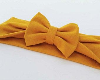 Mustard yellow jersey knit bow headband, top knit headband, headwrap, turban