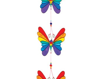 String 3 rainbow butterflies resin lightcatcher