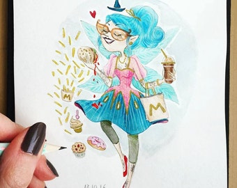 Junk food loving witch - Original illustration