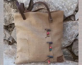 Designer Tote Bag, Burlap, Jute, xxl Bag,