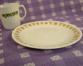 Corelle Butterfly Gold 8 1/2 Inch Lunch Plate ~ Luncheon Snack Medium Size Milk Glass