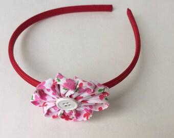Pink/ Red Flower Headband