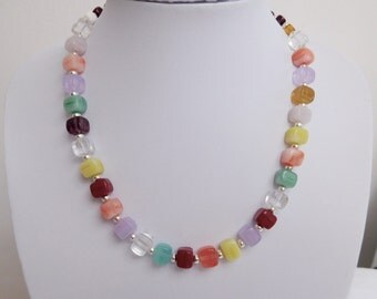 Multi Colour Glass Cube Beaded Necklace, Colourful Necklace