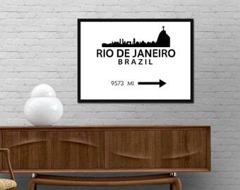 Rio Brazil Skyline Print Rio De Janeiro Olympic Distance Mark Poster Modern wall art Minimalist design decor Various Colors Custom distance