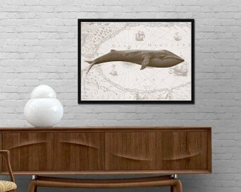 Whale print Nautical Wall Art Whale Illustration Beach House wall decor Vintage style Bathroom Art Whale Poster Best price canvas art