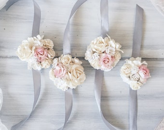 Different Colors Bridal Braceletbridesmaid Corsage Wrist Weddings White Flower