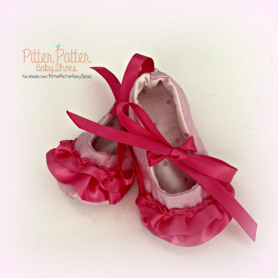 pretty in pink satin baby slippers baby shoes pink