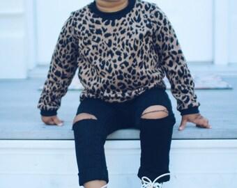 Leopard print baby girl sweatshirt, newborn sweatshirt for fall outfit, toddler sweater, baby girl jumper, animal print sweatshirt