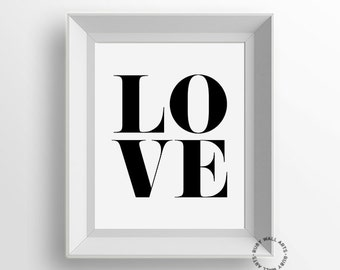 LOVE Art Print, LOVE Word, Modern Minimalist Wall Art, Typography Poster, Black and White, Workspace, Home Decor, Printable