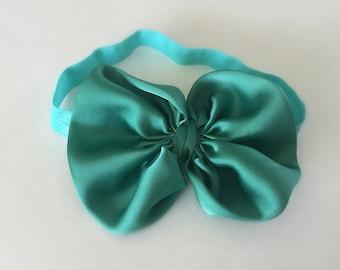 Aqua bow baby headband, aqua headband, bow baby headband