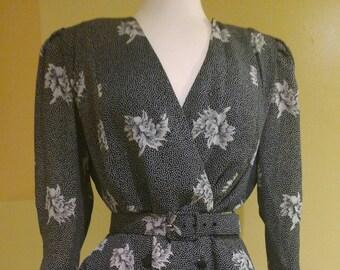 1980s Liz Petites Vintage Floral Print Secretary Dress, Sz 12