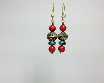 Coral and Turquoise inlay earrings