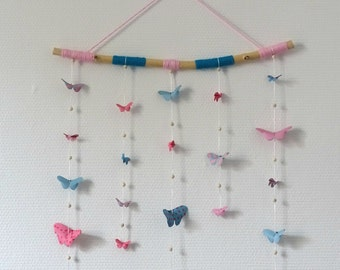 Mobile origami pink, blue and Driftwood