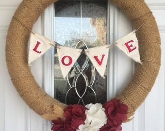 Burlap Love Wreath