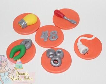 12x Edible Fondant Workman Electrician Boys Cupcake topper set