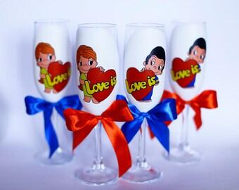 Wedding glasses Love is