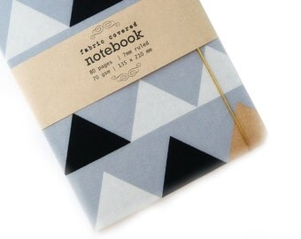 Pale Grey Triangles Upcycled Fabric Notebook