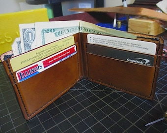 Handmade Full Grain Leather Wallet - Walnut