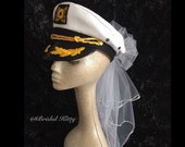 Bachelorette Veil Bride Nautical Captain Hat & Sash Last Sail Before The Veil Bridal Veil Sailor White Wedding Veil Anchor Cruise Pool Party