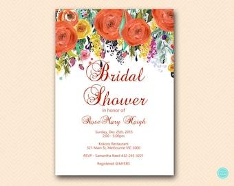 Fall in Love, Orange Floral Bridal Shower Invitation, Baby Shower Invitation, Autumn Bridal Shower, Fall in Love Bridal Shower BS451 TLC451