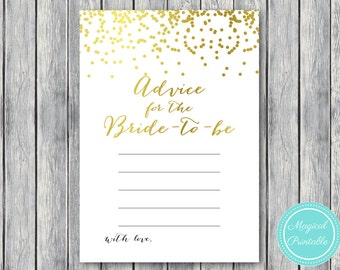 Advice for the bride to be, Gold Foil, Gold Confetti Bridal Shower Game, Bachelorette, Wedding Shower BS87