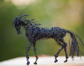Horse Sculpture, Wire Horse, Horse Figurine, Rustic Home Art, Horse Collectibles, Black Horse Decor, Animal Lover Gift, Modern Wire Art