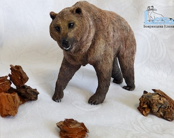 Bear figurine, velvety plastic, polymer clay, brown, bear