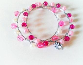 Boho pink bangles set, bangles set, hippie bangles set, pink bangles, bohemian, summer bangle set, bracelet set, boho bracelet set, pink